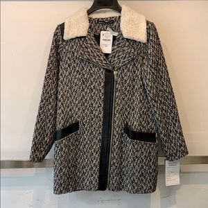 Boucle wool trench with Sherpa trim & faux leather